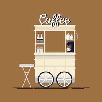 クリエイティブで詳細なストリートコーヒーカートまたはエスプレッソマシン、シロップボトル、使い捨てカップを備えたショップ。
