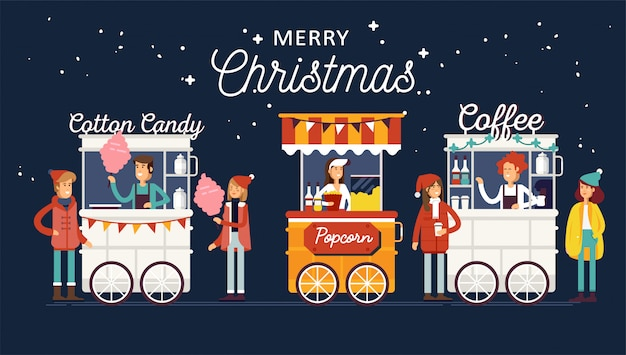 판매자와 창의적인 자세한 거리 커피 카트, 팝콘 및 솜사탕 가게. 젊은이들은 christamas 음식 축제 행사에서 길거리 음식이나 정크 푸드를 구입합니다.