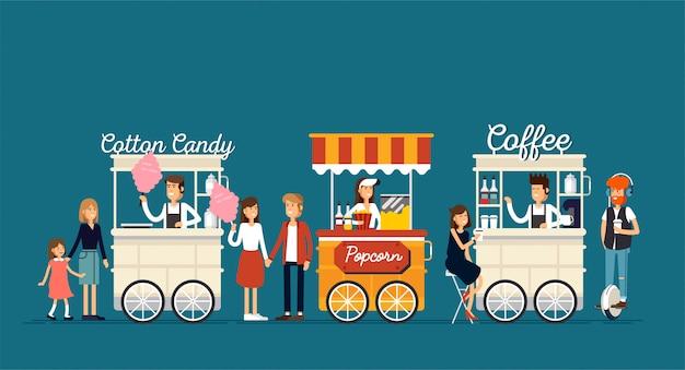 Креативная подробная уличная кофейная тележка, попкорн и сахарная вата с продавцами. молодые люди покупают уличную еду или нездоровую пищу на фестивале еды.