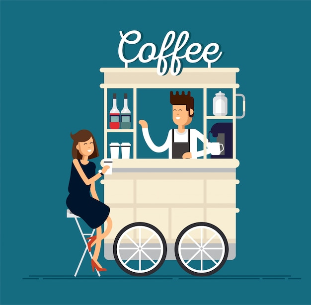Creative detailed street coffee cart or shop with espresso machine, syrup bottles, disposable cups and with seller. young people having a coffee.