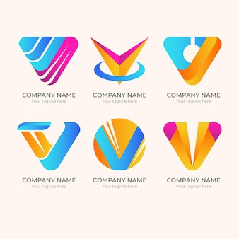 Creative detailed v logo set