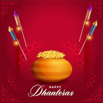 Creative dhanteras festival card with rocket fire cracker