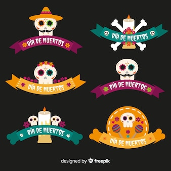 Creative día de muertos badge collection