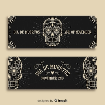 Creative día de muertos banners