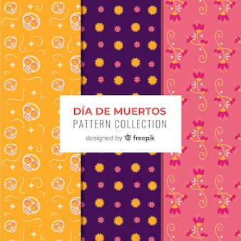 Creative día de muertos pattern collection