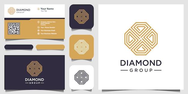 크리 에이 티브 다이아몬드 개념 로고 디자인 서식 파일 및 명함 디자인.