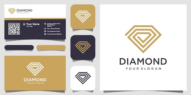 Шаблон дизайна логотипа creative diamond concept и дизайн визитной карточки