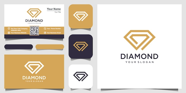 Creative diamond concept logo design template and business card design