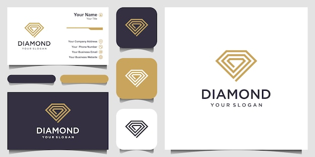 Creative diamond concept   template and business card