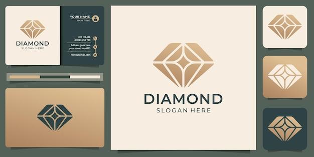 크리 에이 티브 다이아몬드 로고 디자인 템플릿 및 명함 디자인. 프리미엄 벡터