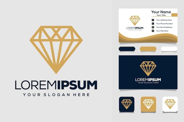 Creative diamond logo design template and business card