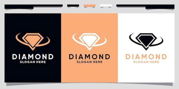Creative diamond logo design template with unique concept premium vector