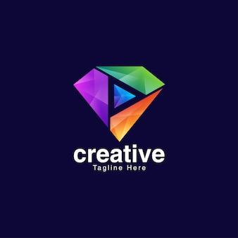 Creative diamond logo for media and entertainment