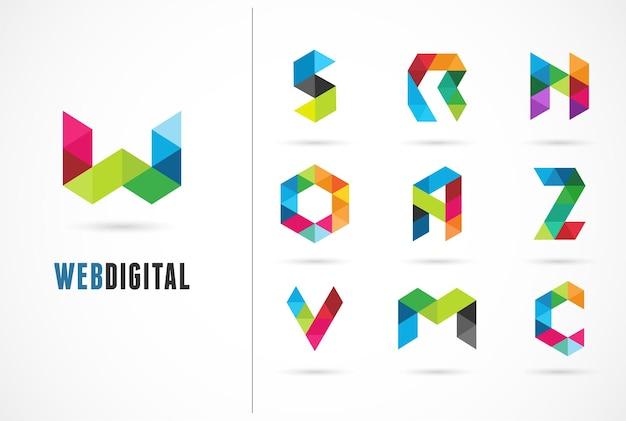 創造的な、デジタル文字のカラフルなアイコン、要素とシンボル、ロゴテンプレート。 w、s、o、a、z、n、m、c