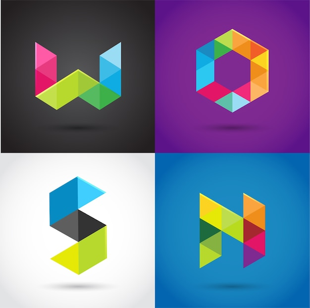 創造的な、デジタル文字のカラフルなアイコン、要素とシンボル、ロゴテンプレート。 w、s、o、n、
