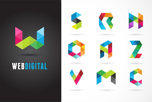 Creative, digital letter colorful logo template. w, s, o, a, z, n, m, c