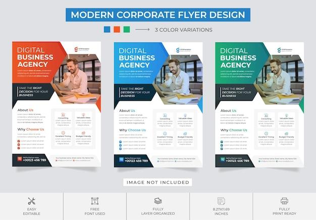 Creative digital marketing agency flyer design tempate