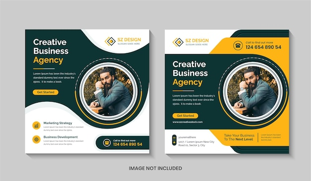 Creative digital marketing agency social media post design template square flyer or editable web banner