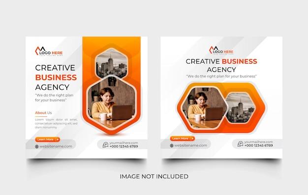 Creative digital marketing agency social media post design template and web banner template set