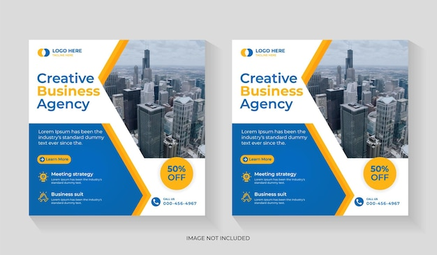 Creative digital marketing agency social media post design with business promotion and corporate square flyer editable template