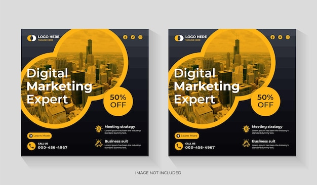 Creative digital marketing agency social media post design with business promotion template