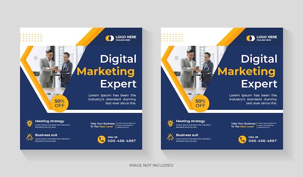 Creative digital marketing agency social media post design with promotion and corporate square flyer editable template