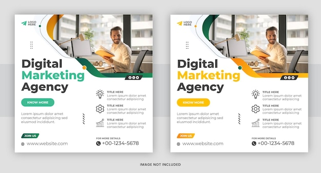 Шаблон сообщения в социальных сетях агентства креативного цифрового маркетинга