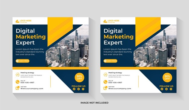 Creative digital marketing social media post editable template