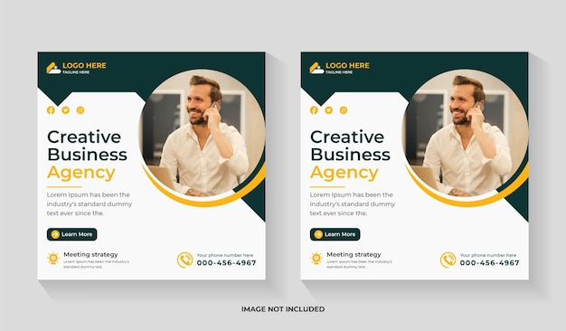 Creative digital marketing social media square flyer and instagram post or web banner editable template