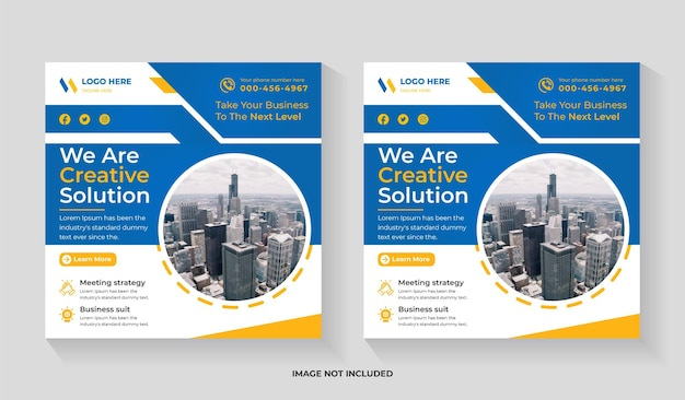 Creative digital marketing social media square flyer and instagram post or web banner template