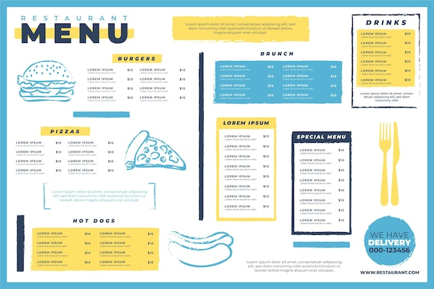 Креативный шаблон цифрового меню ресторана с иллюстрациями