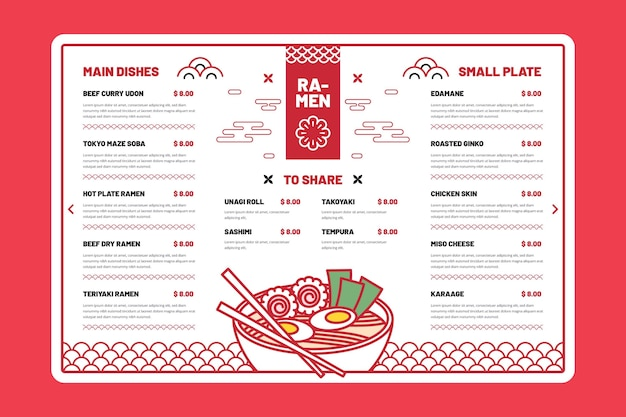 Creative digital restaurant menu template