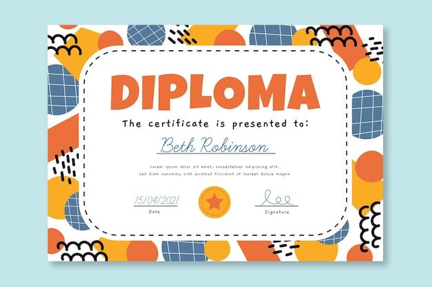 子供のための創造的な卒業証書テンプレート