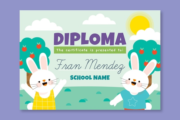 Creative diploma template for kids