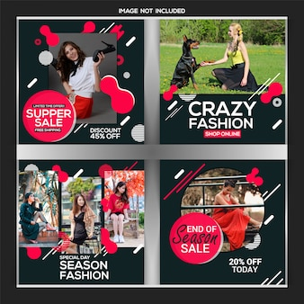 Creative discount instagram post or banner template