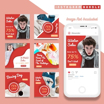 Creative discount instagram winter post template
