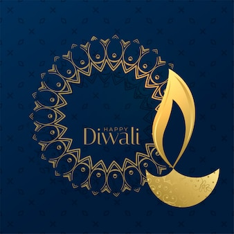 Creative diwali background with diya and text space