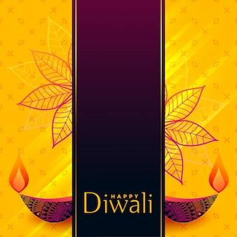 Design creativo di diwali banner con decorativi diya