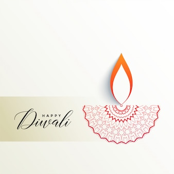 Creative diwali diya design on white background