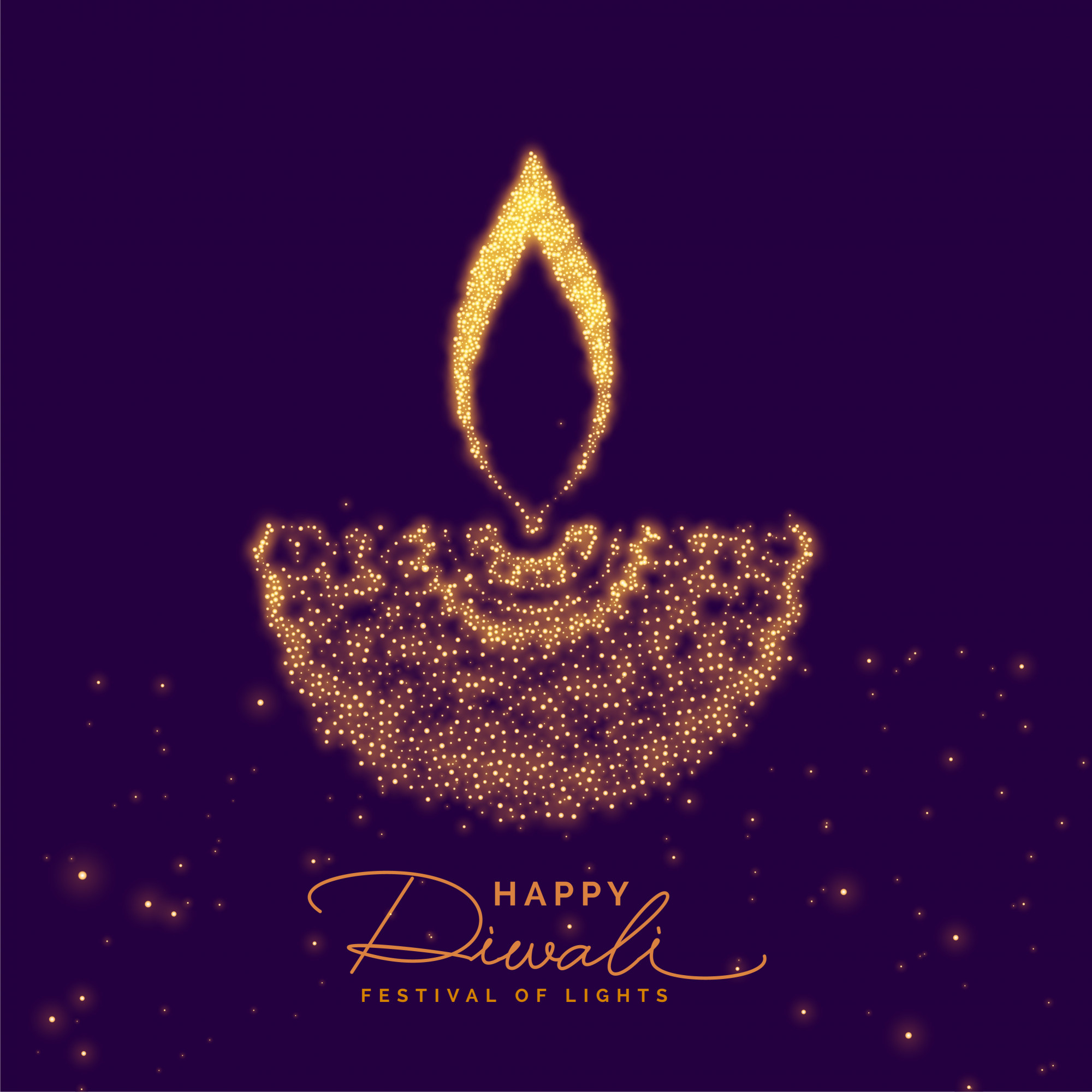 Creative diwali diya made with golden particle