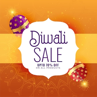 Creative diwali sale banner with crackers