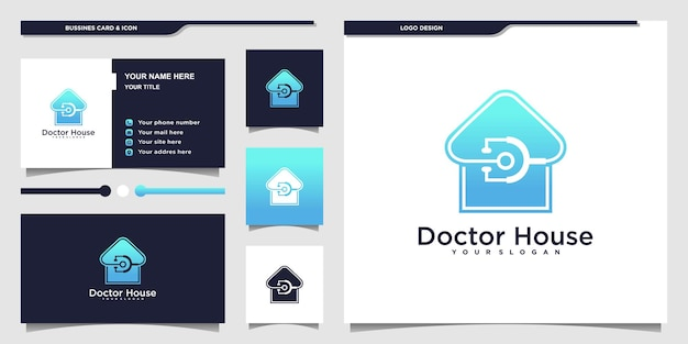 Creative doctor house logo with luxury blue gradients colour and business card design premium vecto