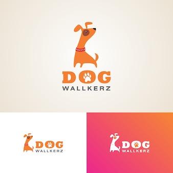 Creative dog walkers logo design template