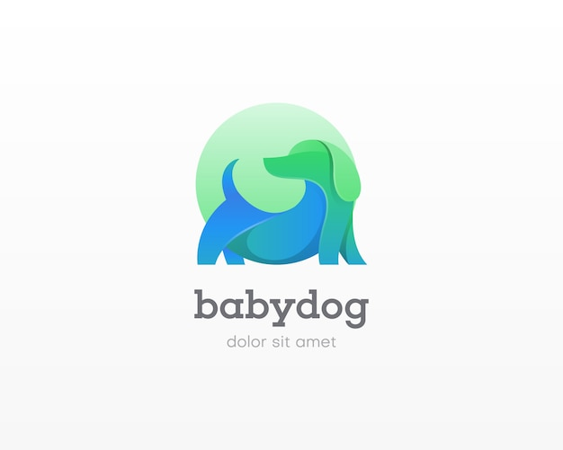 Creative dog with circle logo