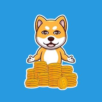 Креативный дож сиба-ину с мультяшным логотипом кучи биткойнов