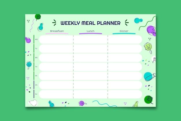 Modello di pianificatore di cibo sano pasto sano doodle creativo Vettore gratuito
