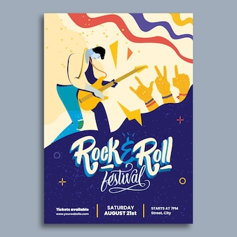 Creative doodle rock concert music event poster template