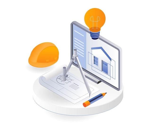 컴퓨터에 집 건물의 창조적인 그림
