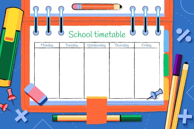 Creative drawn back to school timetable