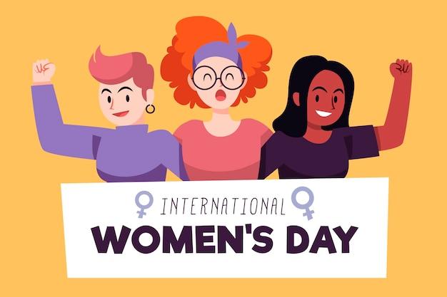 Креативный нарисованный международный женский день с иллюстрацией
